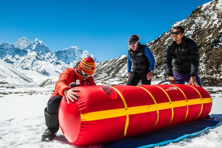Doctors use a Gamow Bag to treat a altitude patient.